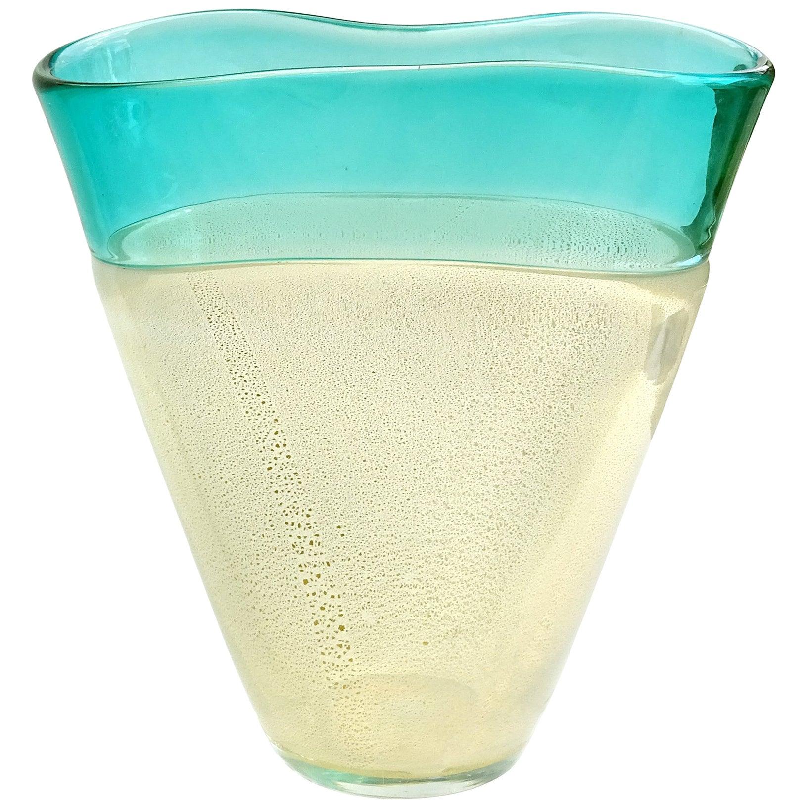 Seguso Murano Green Rim Opalescent Gold Flecks Italian Art Glass Flower Vase