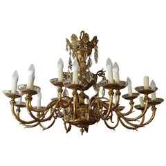 Early 20th Century 18-Light Brass and Crystal Chandelier