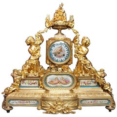 Imposing French Gilded Bronze and Porcelain of Sevres Napoleon III Clock