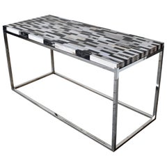 Console Table in Petrified Wood and Stainless Steel Base