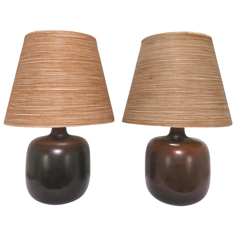 Pair of Lotte & Gunnar Bostlund Art Pottery Table Lamps, circa 1970s