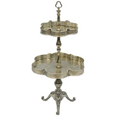 2-Tier Silver Plated Regency Style Dessert Tray Stand Platter Centerpiece Tazza