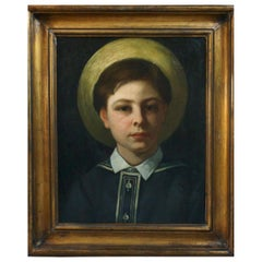 Portrait of a Boy,19th Century Oil on Canvas Painting, Gilt wood Frame