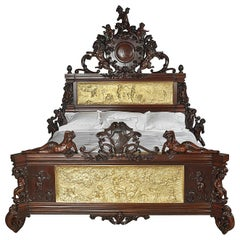 Exhibition Austrian Neo-Baroque Carved Mahogany Bed, circa 1890