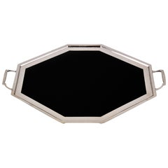 Art Deco Serving Plate by Berndorf with Black Glass, 1930s