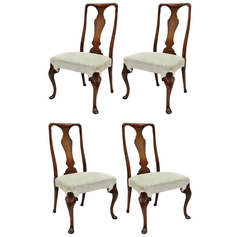 Vintage Hickory Chair Company Queen Anne Style Mahogany Dining Chairs Set of 4