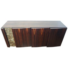 Beautiful Macassar Ebony and Bronze Sideboard by L. Frigerio, circa 1975