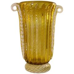 Pino Signoretto Romantic Italian Ribbed Murano Glass Vase Worked with Pure Gold