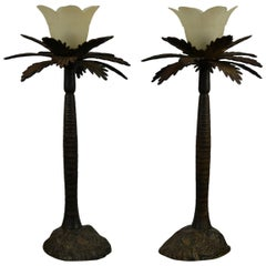 Vintage Pair of Brutalist Palm Tree Table Lamps, 1950s