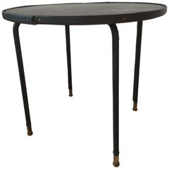 Jacques Adnet Style Black Stitched Leather Round Side Table, 1950s, French