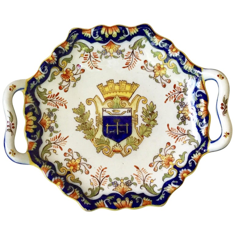 French Faience Handled Platter Desvres, circa 1900