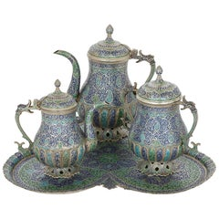 Four Piece Indian Kashmiri Silver and Enamel Tea and Coffee Service
