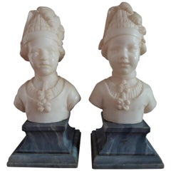 Two Marble Statues Signed L. Gregoire
