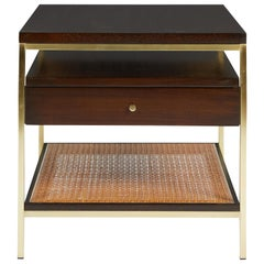 Paul McCobb Side Table with Brass and Cane