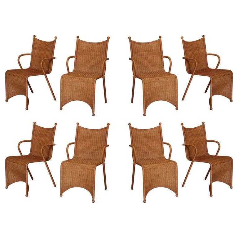 Oscar Tusquets Blanca 8 Woven Rattan Sculptural Dining Chairs, 1980s