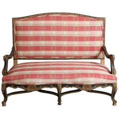 French Regence Period Black and Gilt  Carved Settee