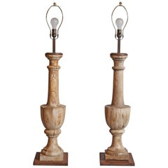 Pair of Antique Balustrades Converted to Lamps