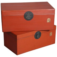 Pair of Stackable Painted Chinese Red Lacquer Boxes with Seal and Lock