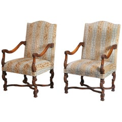 Large Pair of Louis XIV-Style High-Back Armchairs