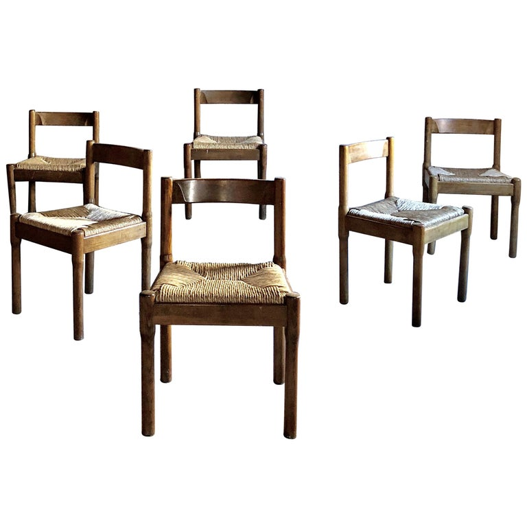 """Vico Magistretti Midcentury """"Carimate"""" Dining Chair for Cassina, 1963, Set of 6"""
