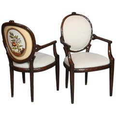 Set of Six Vintage Faux Bois Armchairs