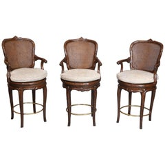 Set of Three Vintage Faux-Bois Counter-Height Stools