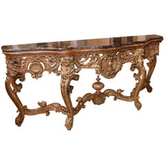 Rococo Heavily Carved Console with Shaped Marble Top
