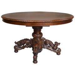 Black Forest Oak and Walnut Oval Centre Table with Carved Animals