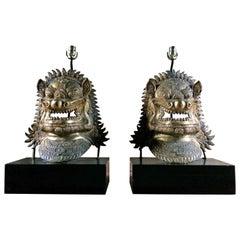 Oriental Side Lights Lamps Dragon Mask Asian Pair Gilt Metal Large