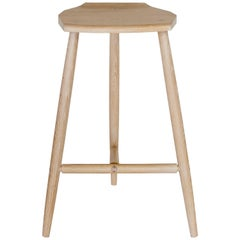 Hudson Cerused Oak 3-Legged Wood Counter Height Stool by New York Heartwoods