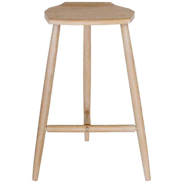 Hudson Cerused Oak 3-Legged Wood Counter Height Stool by New York Heartwoods For Sale