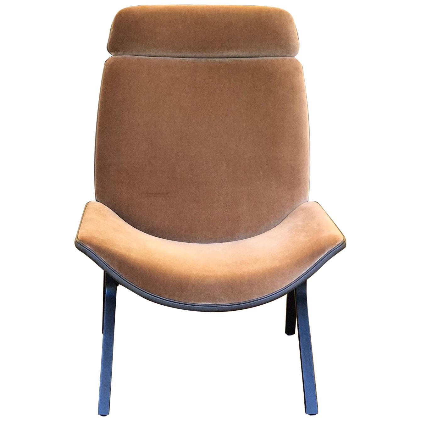 Set Of 2 Melange High Back Leather And Fabric Chair