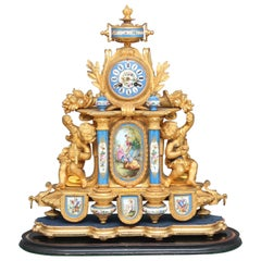 19th Century Gilt Metal and Porcelain Mantle Clock