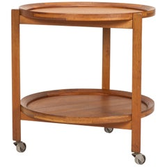 Danish Round Service Trolley Teak Sika Mobler, 1960s