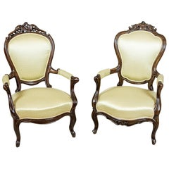 Pair of Upholstered Neo-Rococo Armchairs, circa 1920