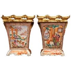 Pair of 19th Century French Porcelain and Gilt Bronze Mandarin Palette Vases