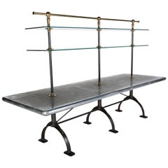Large Zinc-Top Display Table, Cast Iron Base, Adjustable Glass Shelves