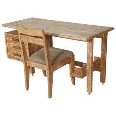 Midcentury Guillerme et Chambron Cerused Oak Desk, France, 1950