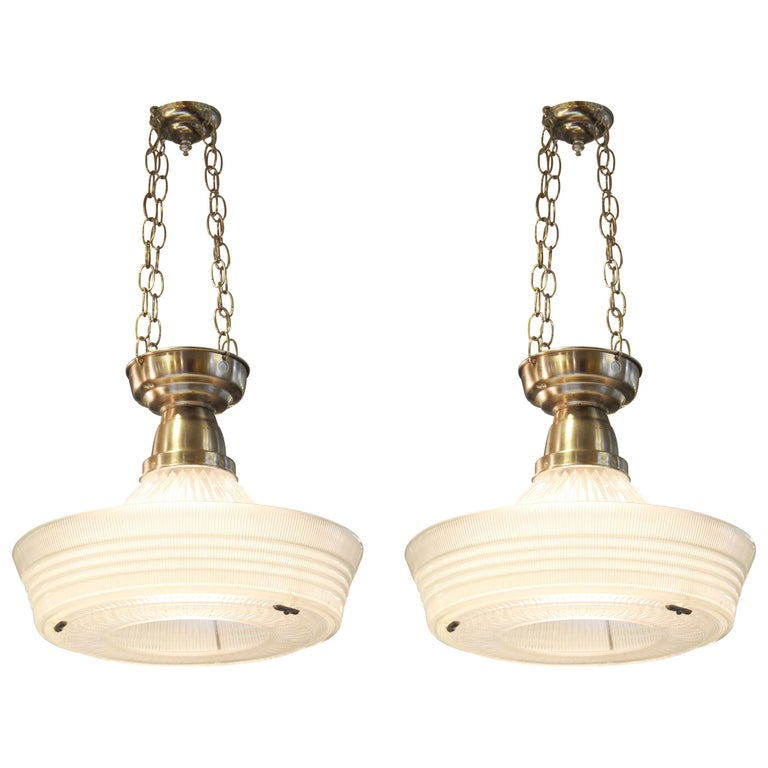 American Art Deco Industrial Pendants with Sailor Hat Holophane Shades