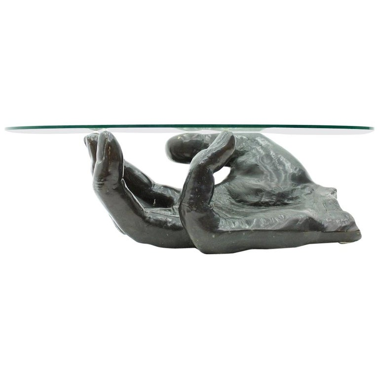 Sculptural Bronze Coffee Table in Form of a Hand Italy 1970s