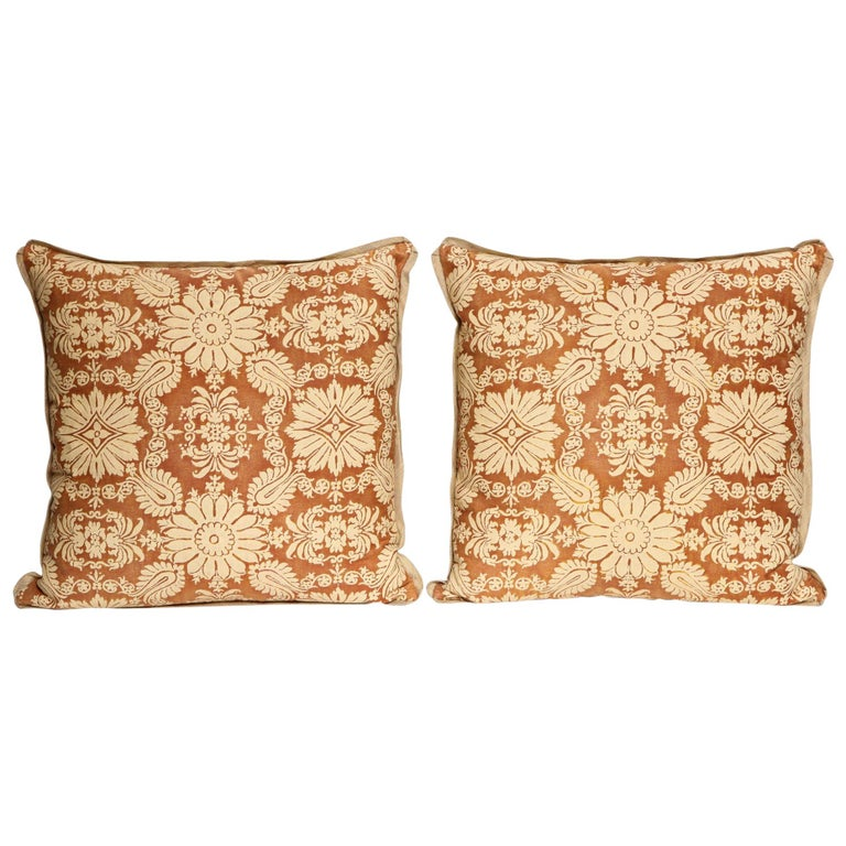 Pair of Fortuny Fabric Cushions in the Impero Pattern