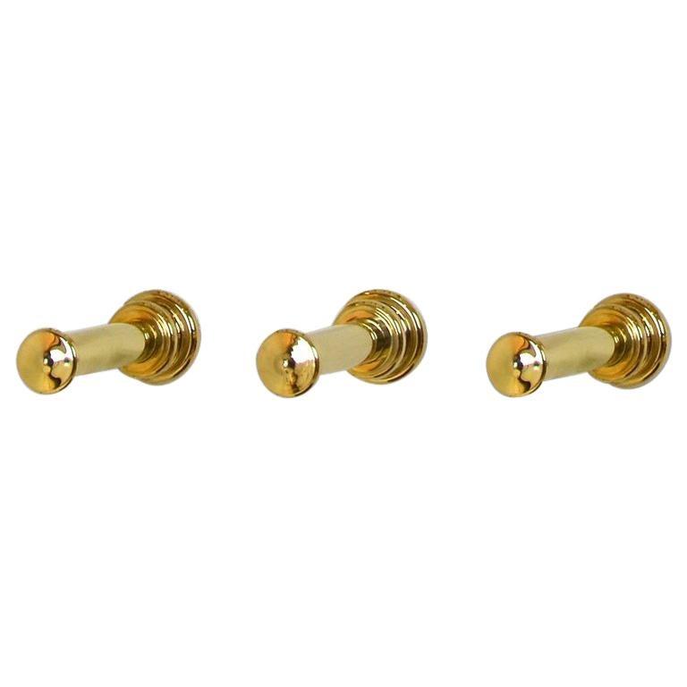 Set of Three Wall Hooks, Solid Brass