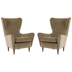 Midcentury Gio Ponti Style Wing Back Pair of Lounge Chairs Velvet, Italy