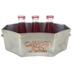 1930s Vintage Italian Metal Campari Soda Ice Bucket with Copper Relief Logo