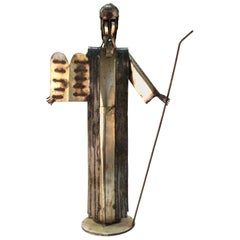 Mid-Century Modern Abstract Moses Sculpture in Mixed Metal