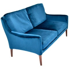 Elegant Danish Two-Seat Sofa in New Upholstered Velvet and Teak, circa 1950