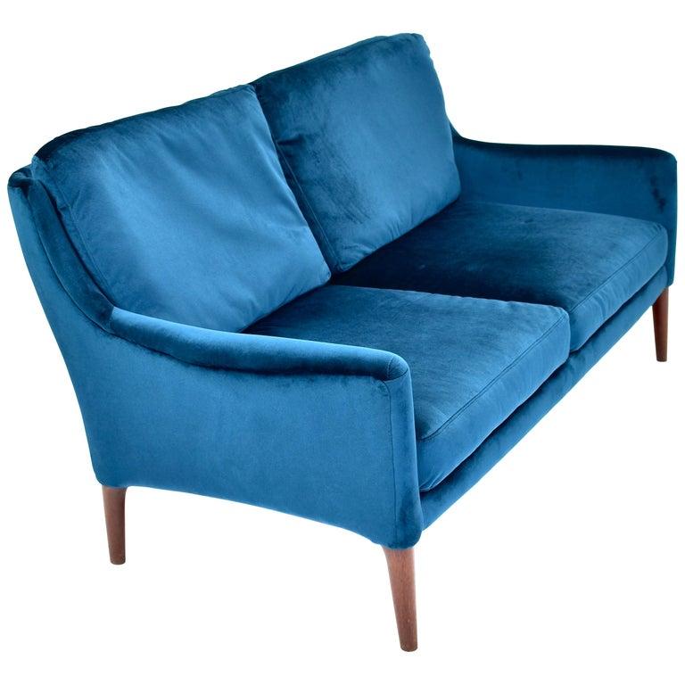 Elegant Danish Two-Seat Sofa in New Upholstered Velvet and Teak, circa 1950