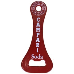 1970s Vintage Italian Campari Soda Metal Design Red Bottle Opener
