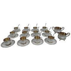 Antique Norwegian Silver Gilt & Enamel Demitasse Set for 12