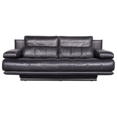 Rolf Benz 6500 Designer Leather Sofa black Two-Seat Couch modern